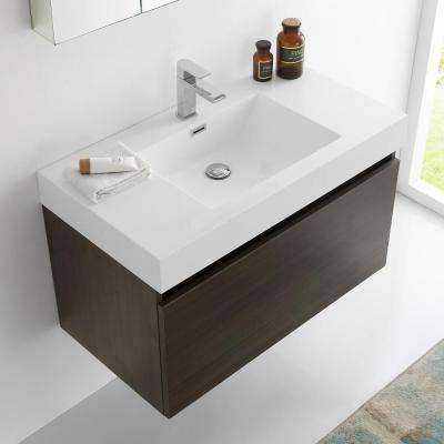 Mezzo 36 in. Vanity in Gray Oak with Acrylic Vanity Top in White with White Basin and Mirrored Medicine Cabinet