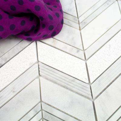 Dart Winged Carrera 11-3/4 in. x 11-3/4 in. x 10 mm Polished Marble Mosaic Tile