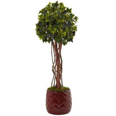 Indoor/Outdoor English Ivy Artificial Tree in Red Planter, UV Resistant