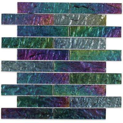 Iridescent Ocean Bricks 9-3/4 in. x 13 in. x 8 mm Foil Glass Mosaic Tile