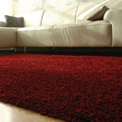 Crimson Red 5 ft. x 8 ft. Silky Shag Area Rug