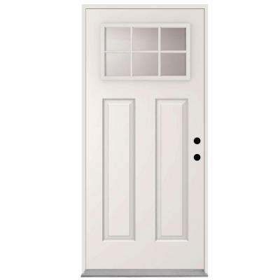 Clear 6-Lite Glass White Primed Steel Prehung Front Door with 4 in. Wall