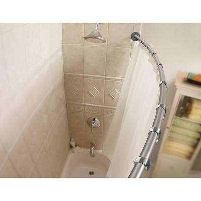 60 in. Curved Shower Rod Bar in Brushed Nickel