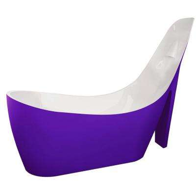 Gala 6.7 ft. Acrylic Reversible Drain Freestanding Bathtub in Glossy Violet