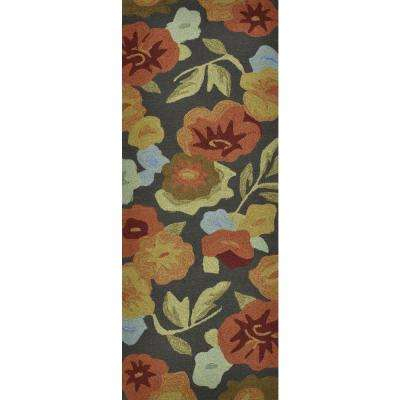Summerton Lifestyle Collection Dark Brown/Floral 2 ft. x 5 ft. Rug Runner