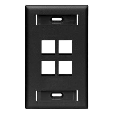 1-Gang Quickport Standard Size 4-Port Wallplate with ID Windows, Black