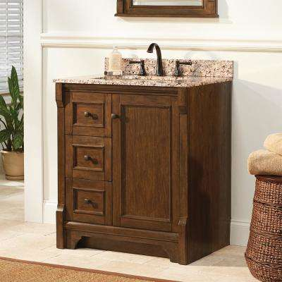 Creedmoor 31 in. W x 22 in. D Vanity in Walnut with Engineered Marble Vanity Top in Crema Limestone with White Sink