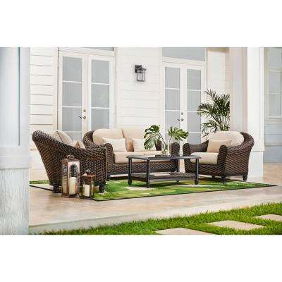 Camden Dark Brown Wicker Outdoor Patio Loveseat with Sunbrella Antique Beige & Fretwork Flax Cushions