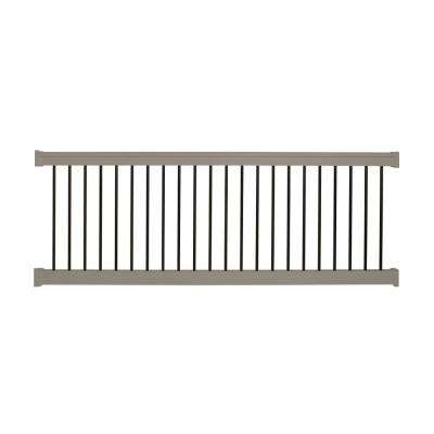 Bellaire 36 in. x 96 in. Vinyl Khaki with Round Black Aluminum Spindles Straight Railing Kit