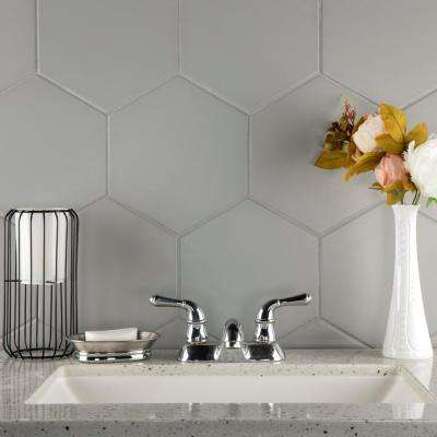 Textile Hex Silver 8-5/8 in. x 9-7/8 in. Porcelain Floor and Wall Tile (11.56 sq. ft. / case)