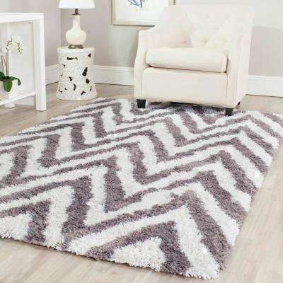 Chevron Shag Ivory/Grey 2 ft. 6 in. x 4 ft. Area Rug