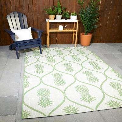 Pineapple Green 8 ft. x 10 ft. Trellis Indoor/Outdoor Area Rug