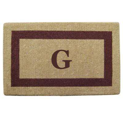 Single Picture Frame Brown 22 in. x 36 in. HeavyDuty Coir Monogrammed G Door Mat
