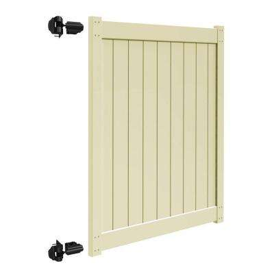 Bryce and Washington Series 5 ft. W x 6 ft. H Sand Vinyl Un-Assembled Fence Gate