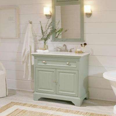 Sadie 38 in. W Bath Vanity in Antique Light Cyan with Natural Marble Vanity Top in White