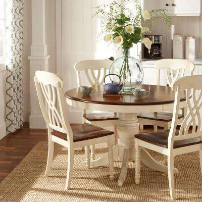 Exceptional 5 Piece Antique White And Cherry Dining Set