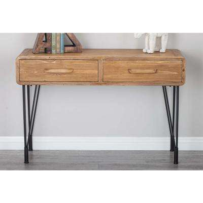 Rustic Wood and Iron Console Table with Paperclip Legs