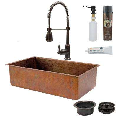All-in-One Undermount Copper 33 in. 0-Hole Single Basin Kitchen Sink in Antique Copper