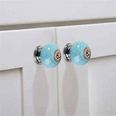 Crackled Round 1-29/50 in. (40 mm) Light Blue Cabinet Knob (Pack of 5)