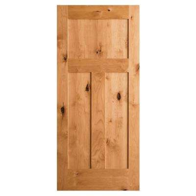 Krosswood Craftsman Rustic Knotty Alder 3-Panel Shaker Solid Core Interior Door Slab