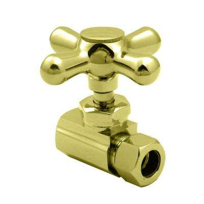 1/2 in. IPS Inlet Straight Stop with Cross Handle in Polished Brass-DISCONTINUED