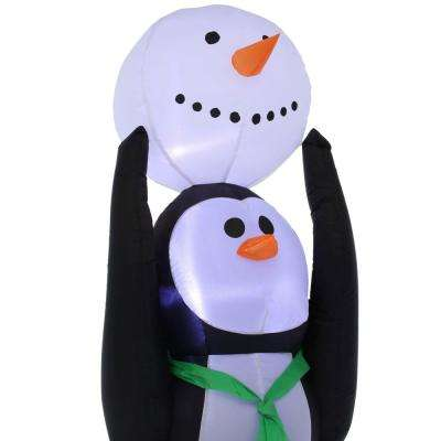 5 ft. Pre-lit Inflatable Christmas Holiday Penguin Building a Snowman