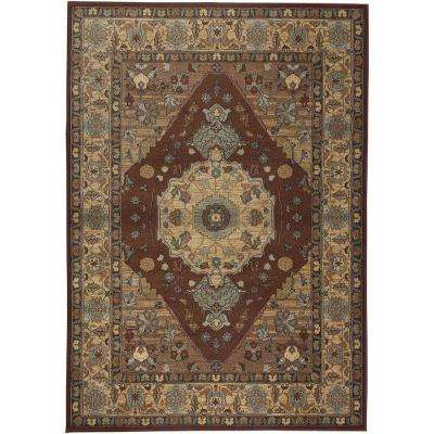 Bellevue Collection Rust and Tan 6 ft. 7 in. x 9 ft. 6 in. Area Rug