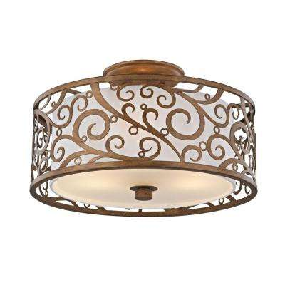 3-Light Burnished Gold Semi-Flush Mount with Light Beige Fabric