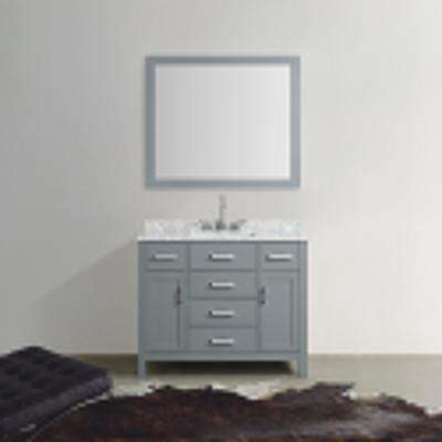 Hampton 43 in. Bath Vanity in Gray with Marble Vanity Top in Carrara White with White Basin and Mirror