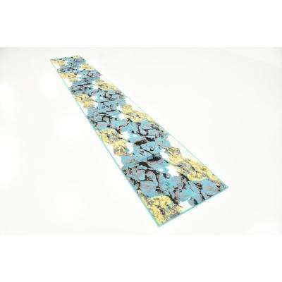 Metro Watercolor Turquoise 2' 0 x 13' 0 Runner Rug