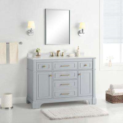 Melpark 48 in. W x 22 in. D Bath Vanity in Dove Grey with Cultured Marble Vanity Top in White with White Sink