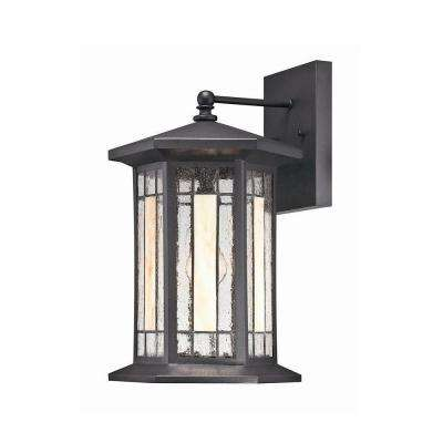 Woodbridge Collection 1-Light Medium Black Faux Tiffany Wall Sconce-DISCONTINUED