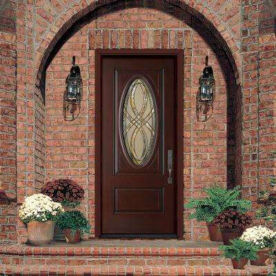 36 in. x 80 in. Everland Cianne Cherry Right-Hand Inswing 3/4 Oval Finished Smooth Fiberglass Prehung Front Door
