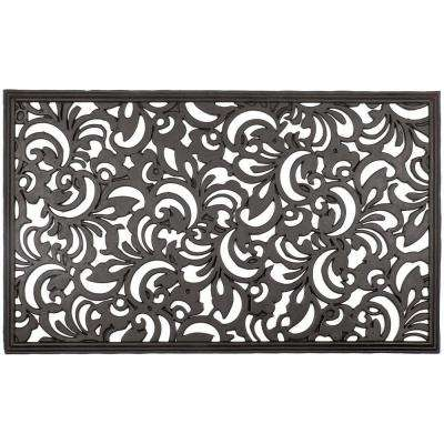 Scroll Flowers 18 in. x 30 in. Recycled Rubber Door Mat