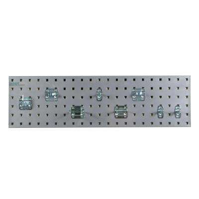 3/8 in. Silver Pegboard Wall Organizer Strip Kit with Assortment (8-Piece)