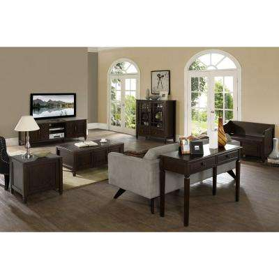 Simpli Home Connaught Dark Chestnut Brown Coffee Table