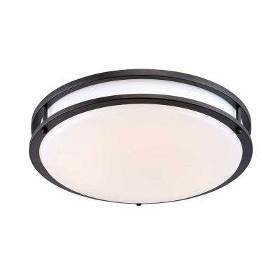 16 in. Oil Rubbed Bronze/White Low-Profile LED Ceiling Light