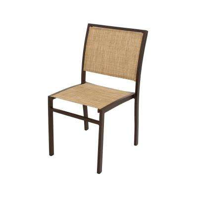 Bayline Textured Bronze/Burlap Sling Patio Dining Side Chair