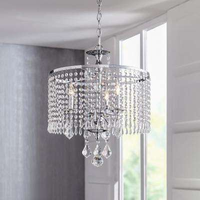 3-Light Polished Chrome Chandelier with K9 Crystal Dangles