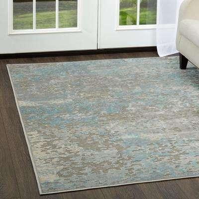 Infinity Dark Gray/Blue 9 ft. x 12 ft. Indoor Area Rug