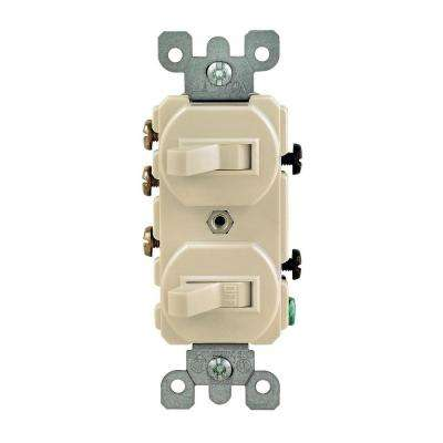 15 Amp 3-Way Double Toggle Switch, Ivory