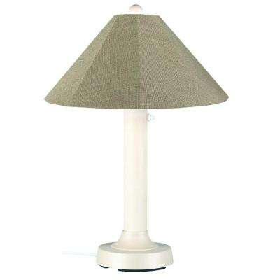 Seaside 34 in. Outdoor White Table Lamp with Basil Linen Shade