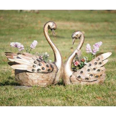 Metallic Swan Planters (Set of 2)