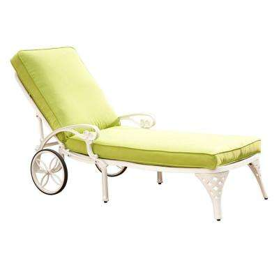 Biscayne White Patio Chaise Lounge with Green Apple Cushion