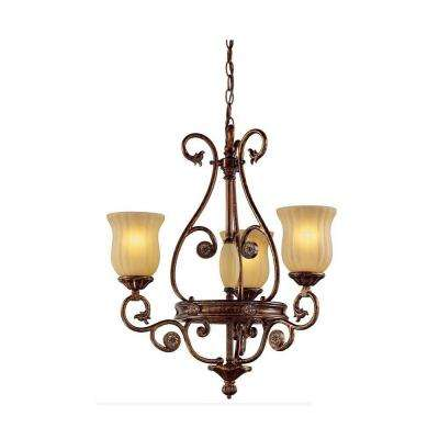Freemont Collection 3-Light Hanging Antique Bronze Chandelier