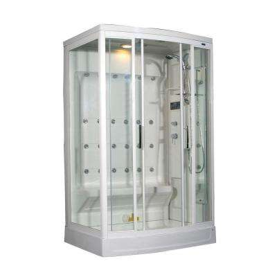 ZA219 52 in. x 39 in. x 85 in. Steam Shower Right Hand Enclosure Kit in White with 24 Body Jets