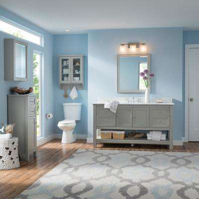 Gazette 61 in. W x 22 in. D Vanity in Grey with Granite Vanity Top in Sircolo with White Sink