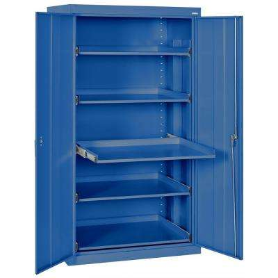 66 in. H x 36 in. W x 24 in. D Steel Heavy Duty Storage Cabinets with Pull-Out Tray Shelf in Blue