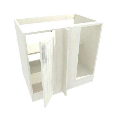 Assembled 39x34.5x24 in. Naples Open Back Blind Outdoor Base Corner Cabinet w/Full Height Doors Right in Radiant White