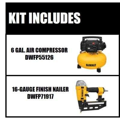 6 Gal. Electric Air Compressor with Bonus Pneumatic 16-Gauge 2-1/2 in. Nailer